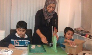 Shireen-Malik-and-her-sons-form-a-production-line-to-produce-600-badges-300x179