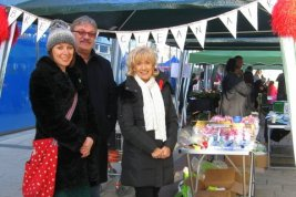Members of the Breathe Clean Air Group raising funds at Urmston Christmas Marke