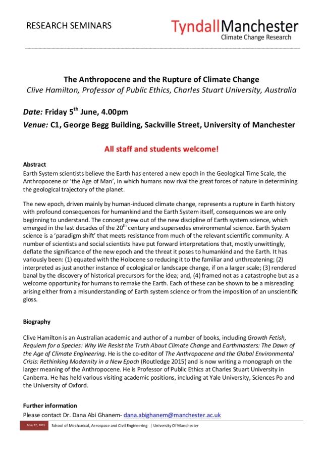Clive Hamilton Tyndall Seminar