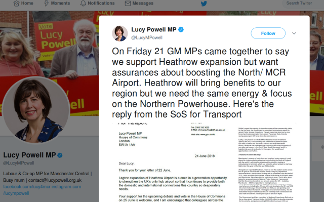 lucy powell on heathrow
